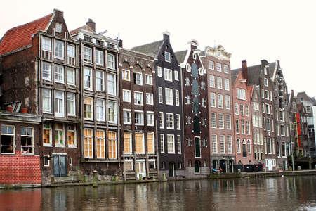 dutch canal house: houses along an Amsterdam canal Stock Photo