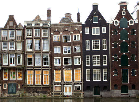 along: houses along an Amsterdam canal Stock Photo