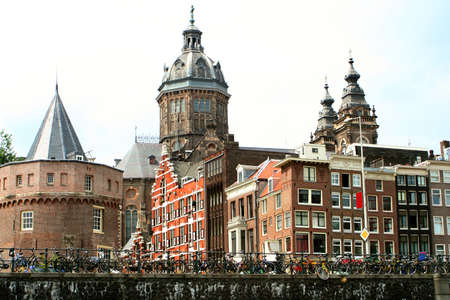 gabled: buildings along an Amsterdam canal Stock Photo