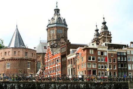dutch canal house: buildings along an Amsterdam canal Stock Photo