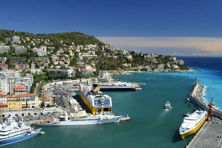 nautic: Lighthouse and harbor in Nice, France Stock Photo
