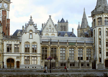 gabled: Gabled houses and steeples  of  Gent, Belgium