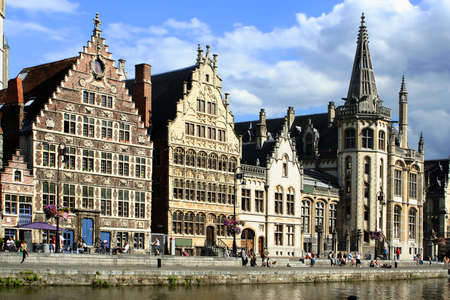 house gable: gabled houses along a canal  in Gent,  Belgium Stock Photo