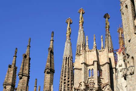 steeples: steeples of the familia sagrada in Barcelona, Spain