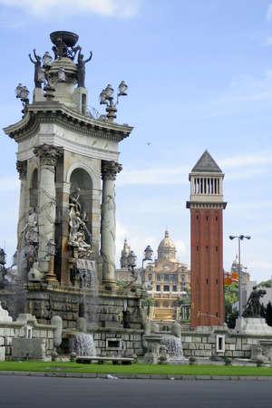 espana: Placa de Espana (fountain,towers, and Montjuic)