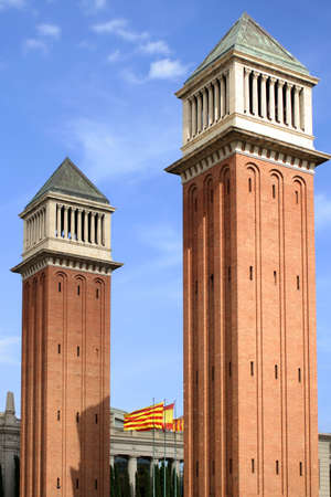 espana: Towers in Placa de Espana, Barcelona, Spain Stock Photo