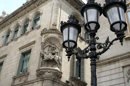 gotico: Streetlamp decorativas y la arquitectura en Barcelona, Espa�a