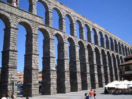 segovia: Stone Aqueduct in Segovia, Spain Stock Photo