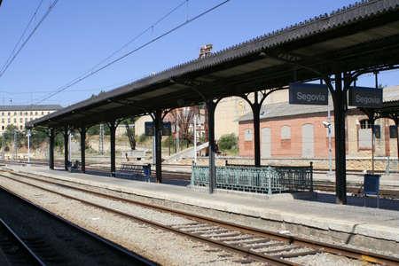 segovia: Segovia railway platform and train tracks Stock Photo