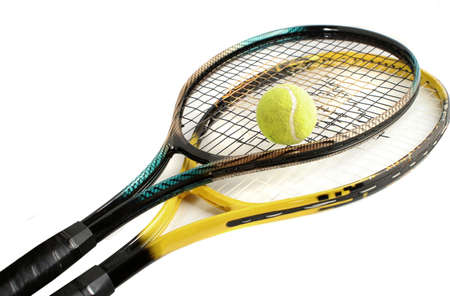 tennis bal en racket Stockfoto