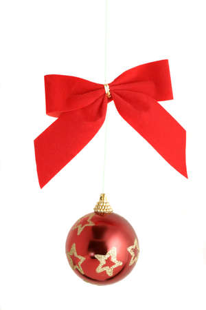 bough: hanging christmas ornamental ball and bough Stock Photo