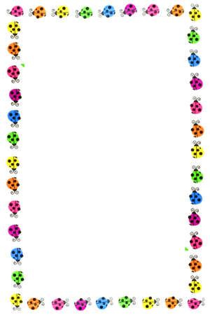 colorful ladybug border and frame