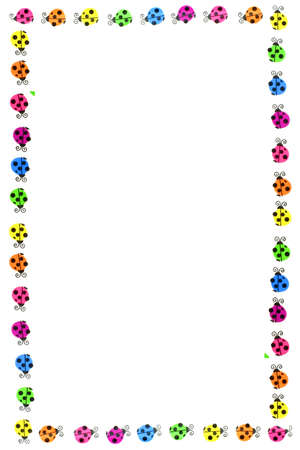 colorful ladybug border and frame