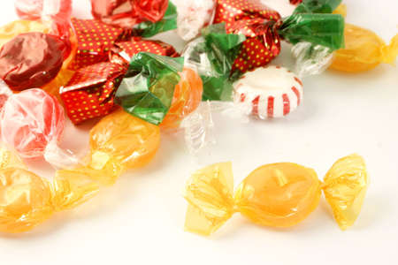 sucrose: colorful and flavorful wrapped sugar candy Stock Photo
