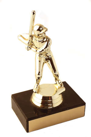 golden baseball trophy (isolated) photo