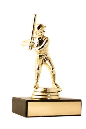 golden baseball trophy (isolated) Stock Photo
