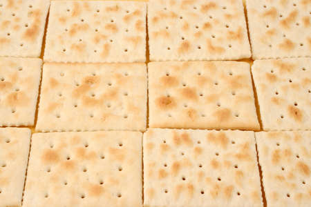 square: rows of square saltine crackers Stock Photo