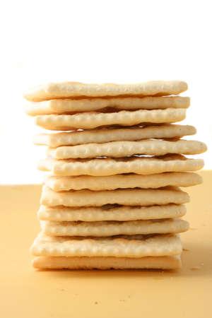 square: stack of square saltine crackers Stock Photo