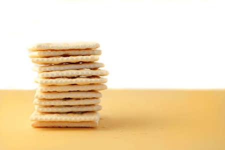 square: pile of square saltine crackers