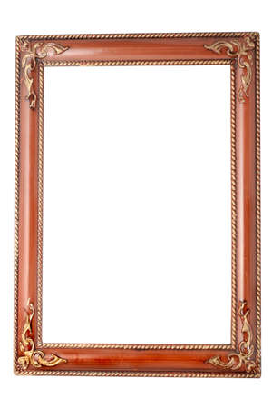 brown frame with gold ornamental  accents