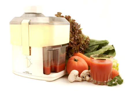 delicious and healthy variety of vegetables with juicer