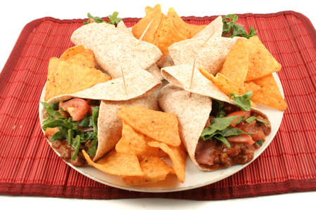 colorful mexican fajitas, and crunchy nacho chips photo