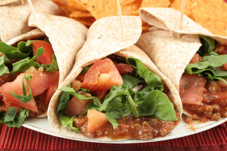tacos: colorful mexican fajitas, and crunchy nacho chips Stock Photo
