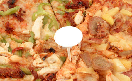 doughy: slices of pizza with different types of toppings