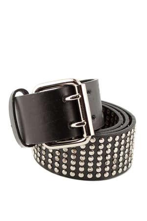 shiny black: shiny black and  silver studded modern fashionable belt Stock Photo