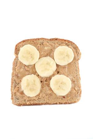 cacahuate: mantequilla de cacahuete y tostada entera del trigo del pl�tano