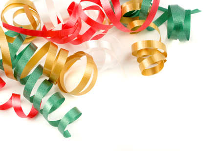 colorful festive curled up ribbon good for background or border