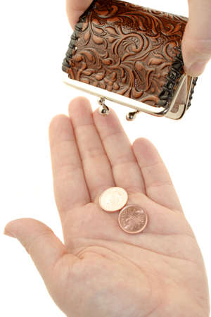 pennies: poor person with only two pennies to count for Stock Photo