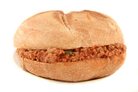 sloppy: hamburger (sloppy joe) in sauce inside a bun