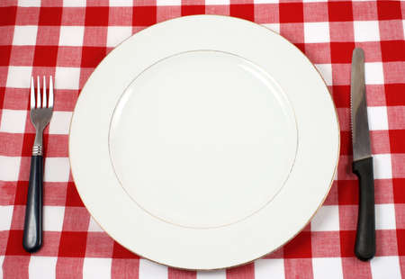 starvation: waiting for meal with empty plate at restaurant