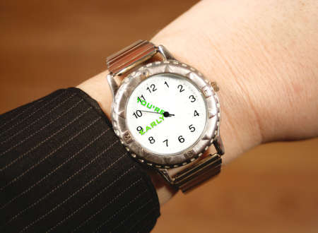 tardiness: businessperson checks watch in time for work
