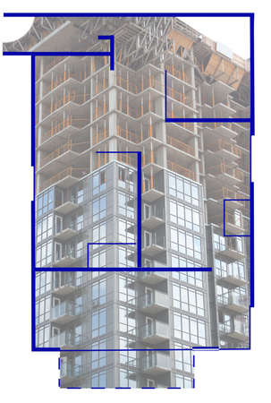 floorplan: real estate construction with floorplan of condominiums in the foreground
