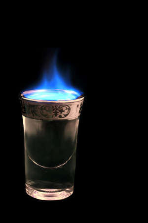 potent: shot glass with alcohol on fire..... (drink up!!  :)