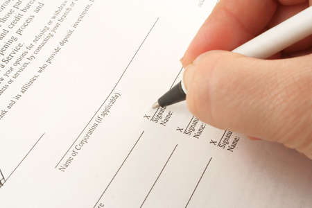 penmanship: signing business banking statements for corporation or company