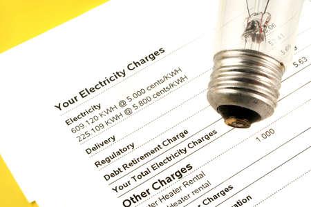 와트 및 월 사용료를 나타내는 전기 요금 청구서에 전구