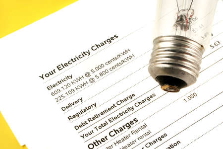 stating: lightbulb on electricity bill stating wattage and monthly charges Stock Photo