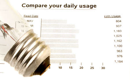 watt: lightbulb on electricity bill stating watt usage chart Stock Photo