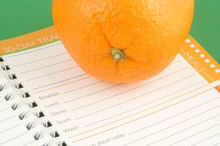 healthy orange and diet and nutrition journal Stock Photo - 638313