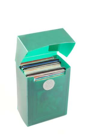 a green case full of collectors cards Banco de Imagens