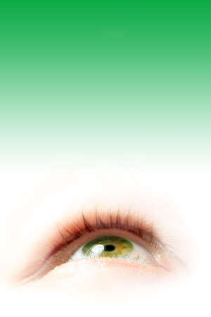 see  visionary: green eye illustration on gradient green background