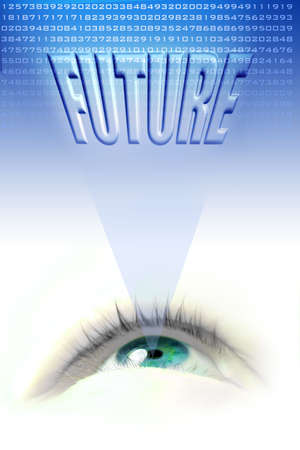 brow: floating blue eye illustration projecting the future