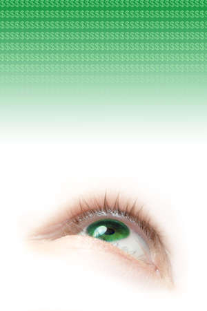 eyelids: a floating green eye illustration looking up and dollar signs
