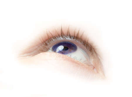 brow: a floating purple eye illustration looking up Stock Photo