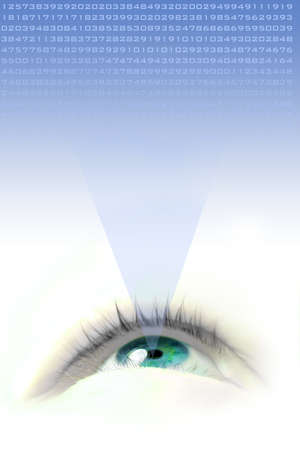 eyeing: a floating blue eye illustration looking up and projecting numbers Stock Photo