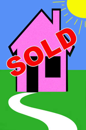 real estate illustrate with sold sign on a house