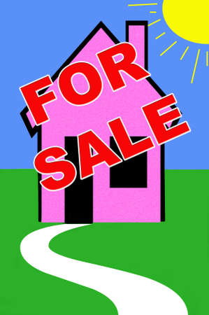homeowner: real estate illustration with for  sale sign on a house